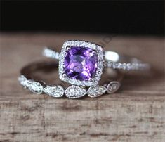 2 CT 14K White Gold Over Cushion Cut Amethyst Engagement Womens Bridal Ring Set