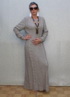 Hand Knit  Women dress sweater coat aran jacket by BANDofTAILORS