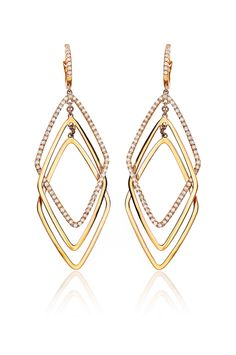 "Haute Vault's dangling 18K rose gold triple interlocking diamond shape earrings will have heads turning wherever you go . A nod to retro Italian design, the top diamond shape and the comfortable French wire tops are enhanced by sparkling pave diamonds. A winner for casual or dressy events. Measures 2 1/4"" long and 7/8"" wide; Available for rental at www.hautevault.com"