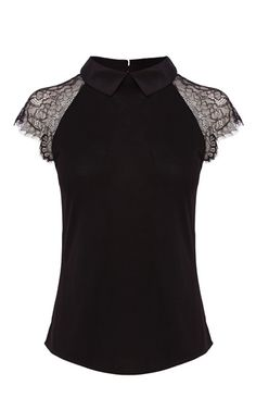 LACE SHORT SLEEVE SILK COLLAR JERSEY TOP