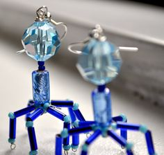 Blue T4 Bacteriophage Earrings...now that is creative...totally making microbiology earrings for when i am a teacher