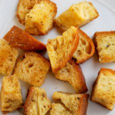 Croissant Croutons - just made these minus the oregano - delish and super easy. Great use of leftover croissants.