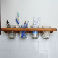 Reclaimed Wood and Jelly Jars Wall Mounted Caddy