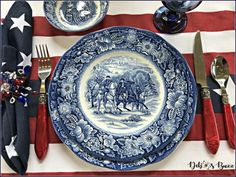 Fourth Of July Decor, 4th Of July Decorations, July 4th, Table Decorations, Thanksgiving Table Settings, Holiday Tables, Christmas Tables, Blue And White China, Blue China