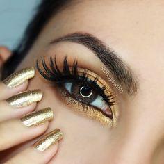Gorgeous golden look by Suhaysalim using eyeshadows from the Makeup Geek's Vegas Lights Palette.
