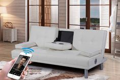 New Manhattan Modern 'Sleep Design' Faux Leather Sofa Bed With Bluetooth Stereo Speakers- Available in White