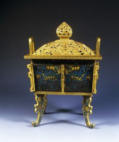 Enamelled and gilded copper ding-shaped censer, Jingtai reign, 1449–57. © Nanjing Museum