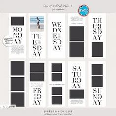 Daily News No. 1 3x8 Templates by paislee press