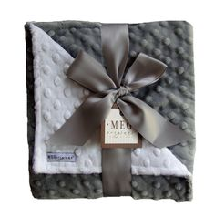 $35.99Silvery Gray and White Minky Baby Blanket for Baby Boy or Baby Girl