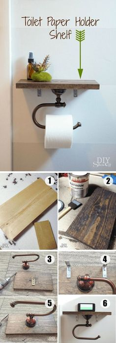 DIY Toilet Paper Holder with Shelf, easy to make, piece of wood and metal toilet paper holder hook, clever and functional toilet paper holder to keep small handy bathroom accessories or to create attractive displays., phone holder, add diy decor, diy home decor, bathroom decor, rustic, farmhouse, modern, versatility (aff link)