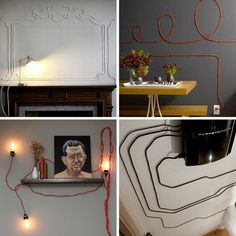 LOVE IT.  it is not always easy to make functional (and necessary) house hold items look fabulous.  Don't hide your power cords - embrace them - let them adorn your walls!