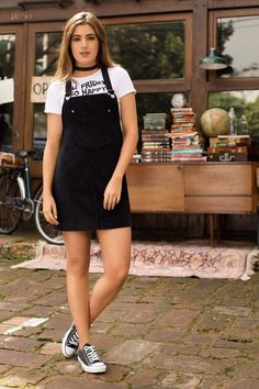 Vestido Corto Tiras Negro Classy Outfits, Outfits For Teens, Trendy Outfits, Girl Outfits, Cute Outfits, Tumblr Outfits, Next Clothes, Clothes For Women, 2010s Fashion