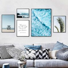 """my home"" - ""dream Oooon!) Detail Feedback Questions about Nordic Decoration Home Art Beach Scenery Tropical Palm Leaves Seascape Canvas Painting Blue Ocean Poster Wall Art Pictures on Aliexpress."