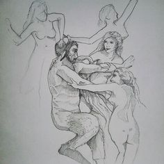 Nymphes et satyre, William bougereau Sketch Drawing, Crayons, Imagination, Pencil, Inspire, Fantasy, Photo And Video, Drawings, Painting