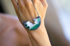 Gem Silica Chrysocolla Sterling Silver Statement Necklace, Blue Green Drusy Necklace - Collector Stone - Lightness of Being