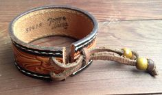 "Vintage ""Tony Llama"" Tooled Leather Belt Cuff with Adjustable Sizing Cinch"