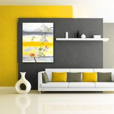The Painted Petal XXVI features fragile flowers, falling infront of uncompresssed shades of striped yellow and gray. Colorful Interior Design, Colorful Interiors, Yellow Accent Walls, Bedroom Wall Designs, Room Paint Designs, Room Wall Painting, Yellow Home Decor, Room Colors, Wall Canvas