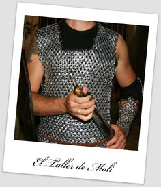Recycling! DIY - make a knight costume from pop can pulls.