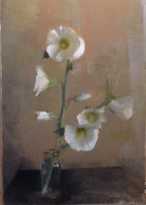 Considering Flowers  White Hollyhocks, oil on Panel, 14 x 18 inches 2016 by Kathleen Speranza
