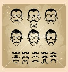 Faces with mustaches sunglasses eyeglasses and a vector on VectorStock®