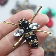 20 pcs 4.5x3.3cm black bees sequins beads Rhinestones appliques patches brooches KMUY76I