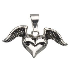 Tiny Winged heart pendant