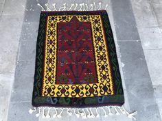 Super Fine Vintage Turkish Anatolian Kilim Rug, Distressed Kilim Rug, Yelow, Red, Green, Geometric Design, Abstract Design by NotonlyRugs on Etsy