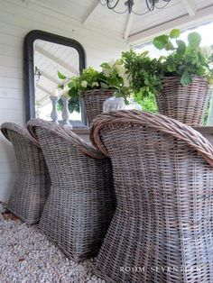 Willow furniture and matching baskets! From: Room Seventeen - Love these chairs.