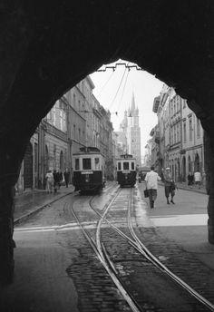Krakow with trams under Florianska gate? Krakow Poland, Danzig, Planet Earth, Old Photos, Street Photography, Street View, Europe, Explore, Landscape