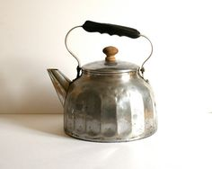 large vintage french kettle rustic aluminum by voladoravintage