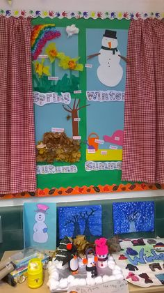 Seasons display. Year one. Ks1. Science.  Starting to looking wonderful. I'm not very arty so the children have worked really hard to make our classroom look great.