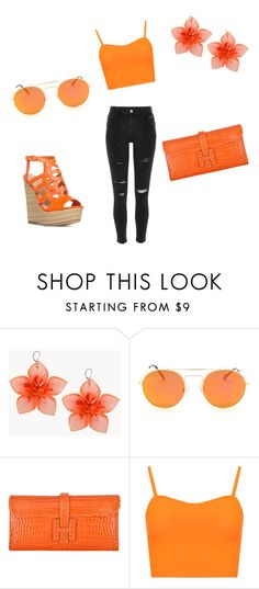 """""""orange"""" by llovely-puppy ❤ liked on Polyvore featuring Dsquared2, Hermès, WearAll and River Island"""