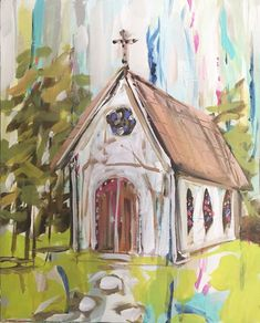 abstract church painting church painting vintage by Marendevineart Bd Art, Paintings I Love, Acrylic Paintings, Chapelle, Pictures To Paint, Painting Inspiration, Painting & Drawing, Folk Art, Art Drawings
