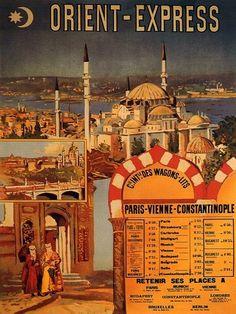 Orient Express Luxury Train Travel Turkey Arab Mosque Vintage Poster Repro