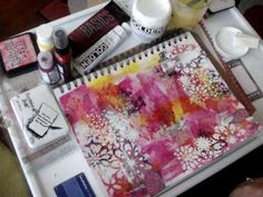 Art Journal Background Layers pt 2. Good tip on how to use a makeup sponge to stencil with.