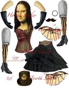 Steampunk Paper doll Mona Lisa da Vinci by Raidersofthelostart