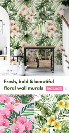 Tree Wall Murals, Mural Art, Front Garden Entrance, Wall Wallpaper, Wallpaper Panels, Aquarium Design, Commercial Interior Design, Country Style Homes, Cool Rooms