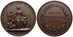 AE-Medaille 1876 von Auguste Bovet und Hugues Bovy. Auf die Säkularfeier der Societe des Arts in Genf Decorative Plates, Personalized Items, Art, Birthday, Geneva, Switzerland, Kunst, Art Background, Performing Arts
