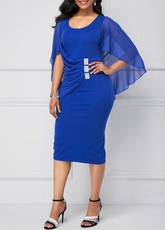 4856747e3ad Cape Shoulder Back Slit Royal Blue Sheath Dress