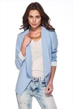 Temel Parçalar - Kadın Tekstil - Gök Mavi Ceket 1004855 %37 indirimle 59,99TL ile Trendyol da