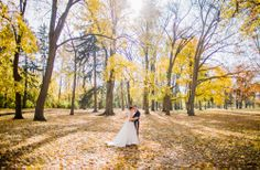 The Forests of Pennsylvania have the most beautiful fall colors, we tried to capture that grandeur in this wide space photo.  Photos by Clane Gessel Photography | #weddings #photography #fallweddings #brideandgroom