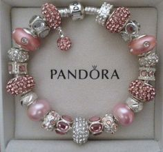 Pandora Bracelet Silver 8 3 with Charms Pink ...
