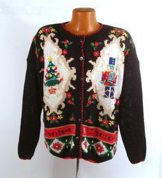 Ugly Christmas Sweater Vintage Cardigan by purevintageclothing, $48.00