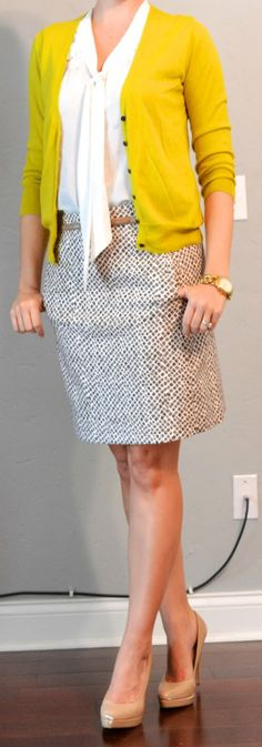 Outfit Posts: outfit post: mustard cardigan, white tie blouse, printed pencil skirt