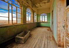 The Coolest Places on Earth: The Abandoned Town of Kolmanskop, Namibia (Pictures) - Ghost City, Ghost Towns, Free Desktop Wallpaper, Home Wallpaper, Abandoned Cities, Abandoned Houses, Ghost House, Villa, House Windows