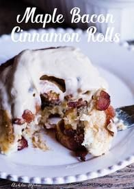Maple Bacon Cinnamon Rolls!  My traditional cinnamon rolls FILLED with chunks of Bacon and topped with maple cream cheese frosting. How do you feel about meat in your sweet breakfast foods? Personally I'm a HUGE fan!
