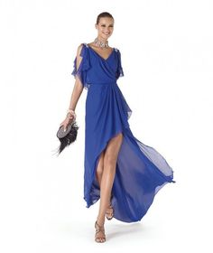 22892bd572ff Vestito elegante da cerimonia blu elettrico con scollo a V e pietre ...