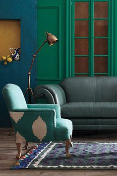 Anthropologie chair with rich jewel colours in the living room Villa Boheme, Home Interior, Interior And Exterior, Deco Boheme, Living Spaces, Living Room, Living Area, Deco Design, My New Room