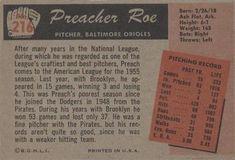 1955 Bowman #216 Preacher Roe Back