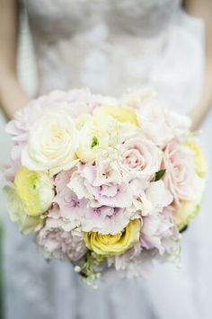 Beautiful pale pastel open flowers, think English Country Garden, look to be perfect for 2015 spring and summer weddings